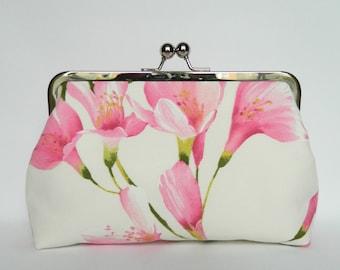Pink Lilies Floral Clutch, Floral Clutch Purse, Clutch Purse, Wedding Clutch, Bridesmaids Clutch, Evening Clutch, Bridesmaids Gifts