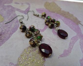 Garnet and Cloisonne  Chain Dangle Earrings-Helene
