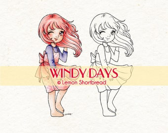 Digital Stamp Windy Days Girl, Digi Download, Children Clip Art, Spring Summer Days, Thinking of You, Coloring Page, Scrapbooking Supplies