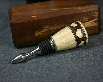 Myrtle Wood Wine Bottle Stopper with Band of Woodburned Hearts Number 268B