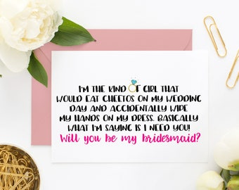 Funny Bridesmaid Proposal Card, Funny Maid of Honor, Bridesmaid Cards, Asking Bridesmaid, Will You Be My Bridesmaid, Be My Maid of Honor