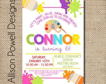 Girl Art or Paint Birthday Party Invitation Pink, Purple, Turquoise, Orange, Yellow, Green - Custom Printable