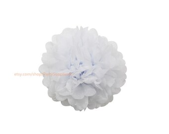 White Tissue Paper Pom Poms * 1 Medium 10 inch Tissue Paper Flowers For Wedding Nursery Shower Party Decoration