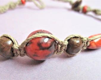 Macrame Hemp Bracelet Orange Beaded Bracelet Boho Style Boutique Jewelry 1970's Fashion Jewelry Handmade Beaded Bracelet Boho Fashion