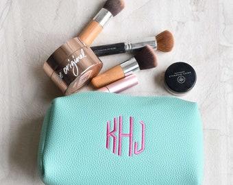Monogrammed Make Up Bag | Wedding Pack | Bridesmaid Gift | Monogram Cosmetic Bag | Travel Case | Vegan Leather Makeup Bag | Macon