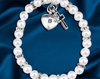 SWAROVSKI Pearl Baby bracelet,  Baptism Baby Bracelet, Baby Pearl Bracelet, AAA Freshwater Pearls,Christening bracelet,
