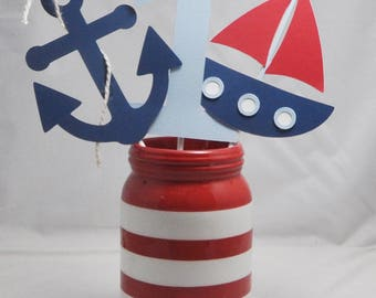 Nautical Centerpiece, 3 Piece Set, Anchor, Sailboat, Number 1, 1st Birthday Boy, Nautical Birthday, Nautical Party, Nautical Decor,