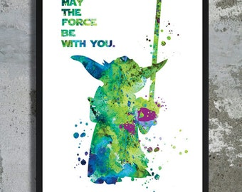 Yoda Quote Star Wars Watercolor Art Print Master Yoda Jedi Poster May the force be with you Star wars poster movie art Star Wars Nursery art