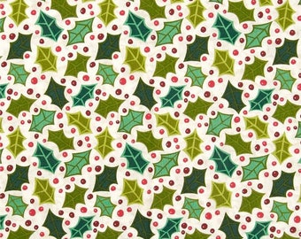 By The HALF YARD - Evergreen by Kim Schaefer for Andover, Pattern #5459-L, Tonal Green Holly and Red berries on Marbled Cream