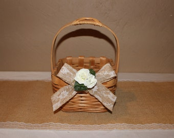 Wedding Flower Girl Basket / Ivory Flower Girl Basket / Flower Girl Basket /