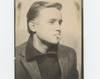 Vintage Arcade Photo Booth, c1950s-60s: Cool Young Dude Smoking [84664]