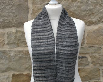 Black and gray lace collar hand made in alpaca wool mohair
