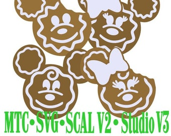 SVG Cut File Gingerbread Mouse Heads Holiday Gift Tag Silhouette Cameo MTC SCAL Cutting Files