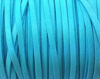 1 meter wide 5 mm cyan blue suede cord