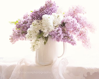 Lilac photograph,shabby chic decor,still life, floral photography, pastel photograph,spring,white,purple,square print