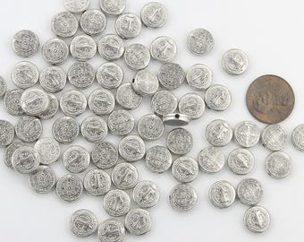 60 Saint BENEDICT Holy Medal Beads ~ St. Benedict Beads for Rosary Bracelets Rosaries Pater Our Father beads Protection SILVER finish Lot 60