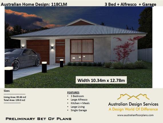 Modern House Plans 130m2   3 Bedroom + Garage   3 Bed Room House Plans    Home Plans For Sale 3 Bedroom   Design A Home