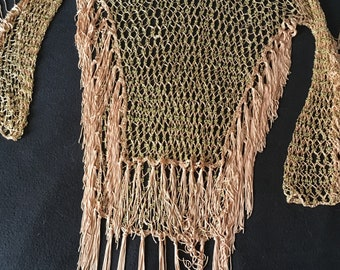 Crocheted tan with gold beads long sleeve boho gypsy top