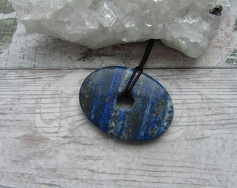 Large Lapis Lazuli Pendant - Oval Gemstone Necklace - Carved Stone Jewellery Blue
