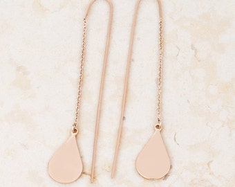 Cleo Teardrop Threaded Earrings | Rose Gold