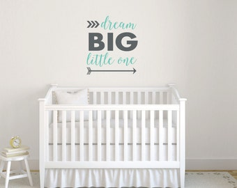 Dream big little one wall decal sticker, Baby boy nursery arrow wall decal, Nursery wall decals, Wall art decals, Dream big wall decor DB432