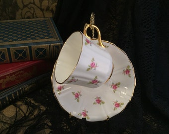 Tea Cup with Saucer, Antique Teacup Rose Design Genuine Bone China Made in England Warranted 22 Kt. Gold Item #250692682