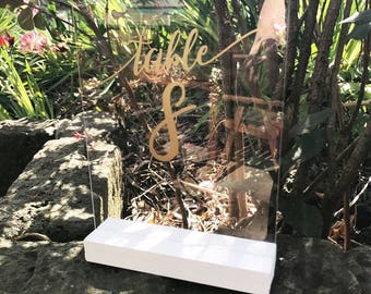 Clear perspex/acrylic wedding table signs A5 table numbers
