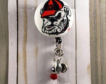 Georgia Bulldogs DAWGS Custom Retractable Badge Reel * FOOTBALL