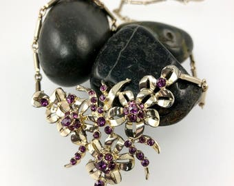 Purple Rhinestone Flower Statement Necklace, Vintage 1950's Jewelry, Mother of the Bride