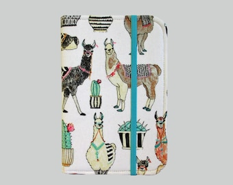 Kindle Cover Hardcover, Kindle Case, eReader, Kobo, Kindle Voyage, Kindle Fire HD 6 7, Kindle Paperwhite, Nook GlowLight Llama Cactus