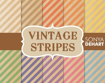 80% OFF SALE Digital Paper Vintage Diagonal Candy Beige Pastel Stripes Striped Paper