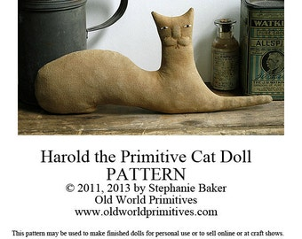 Primitive E-Pattern - Harold the Primitive Cat Doll - PDF File Digital Download