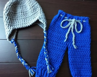Crocheted Baby Hat and Pants Set, baby earflap hat, crochet baby clothes, baby pants, baby hat, baby outfit