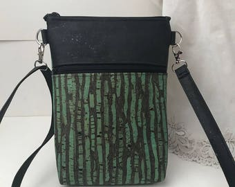 Cork Bag/Crossbody Bag/Cellphone Bag/Purse Hipster 2.0  Adjustable Strap - Jade Green