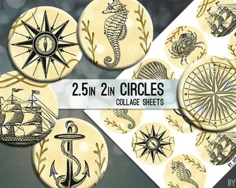 Nautical Ocean Sea 2.5in and 2 Inch Circle Digital Collage Sheet Download Printable Images for Gift Tags Cards Scrapbooking JPG