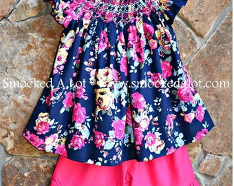 Girls Smocked Shorts Set- Navy Pink Floral Rose Fabric by Smocked A Lot Birthday Vintage Inspired Dress