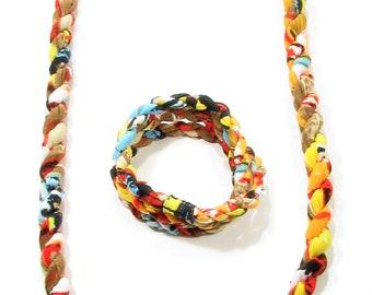 Collier-Bracelet, 2 en un / Bijoux textile / recyclé / accessoires mode / LapareBijoux