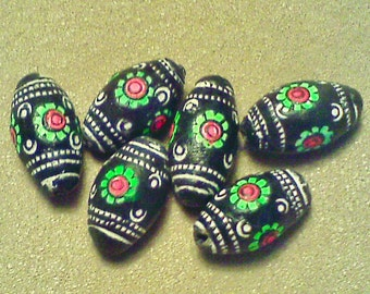 Ceramic beads; chunky and adorable, hand painted Terra Cotta, oval barrel beads, approximately 20x10mm, 4pcs/3.40.