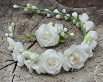 roses jewelry, cold porcelain, roses headband, rose brooch, white rose wreath, bride rose wreath, roses gift, bridesmaids gift, rose flower