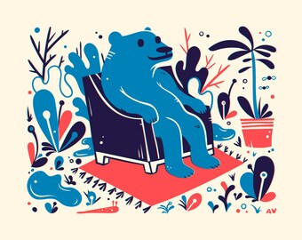 Blue Bear Screenprint - Bear Print 8x10