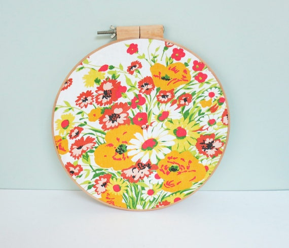 Floral Fabric Swatch Portrait Large Embroidery Hoop Art