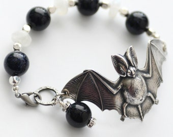 Silver Bat Bracelet, Gemstone Bat Cuff Bracelet, Goth Jewelry, Flying Bat Jewelry, Silver Cuff Moonstone Bracelet, Goth Bracelet, SRAJD