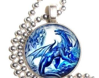 Blue Dragon Altered Art Photo Pendant, Earrings and/or Keychain Round, Silver and Resin Charm Jewelry