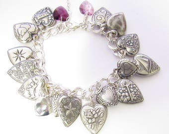 Vintage Puffed/Puffy Heart Charm Bracelet
