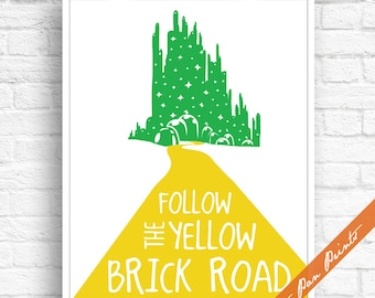 Follow the Yellow Brick Road - Emerald City - Wizard of Oz Inspired Art Print (Unframed) (featured in Yellow and Emerald) Peter Pan Prints