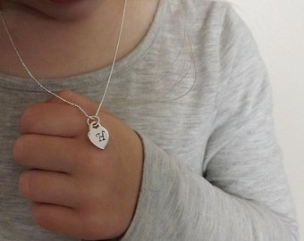 Kid's initial necklace, Children's heart necklace, Flower girl Necklace, Little girl Necklace, Little girl jewelry, Tiny Heart Necklace,