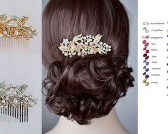 Choose Your Accent Colour -- Rhodium, Yellow or Rose Gold Vintage Inspired Crystal & Pearl Bridal Hair Comb, Bridal, Wedding (Sparkle-2246)