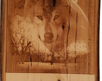 Spirit of the Wolf Laser Engraved Live Edge Plaque