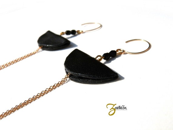 """Earrings 14K Gold black leather - graphic Chic Glamour Rock - model CANCUN """"Mexico Collection"""""""