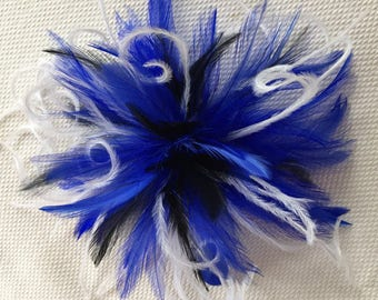 Black White Feather Fascinator Hair Clip Accessory ...Ostrich ..many colors available... Handmade in the USA...royal blue